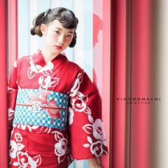 浴衣 レディース 女性浴衣単品「赤地 薔薇」 綿浴衣 プレタ浴衣 お仕立て上がり浴衣 大人浴衣 Fサイズ 女性用 女性浴衣 ゆかた