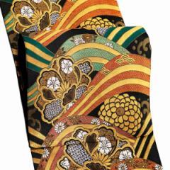 振袖 帯「黒地 波に牡丹、菊」 日本製 ポリエステル帯 お仕立てあがり 振袖用 袋帯 お仕立て済 振袖帯 二重太鼓 変わり結び可能 <T>【