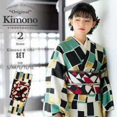 洗える着物 セット「袷着物:格子 緑+京袋帯:黒地 アールデコ」KIMONOMACHI オリジナル 着物と帯の2点セット サイズS/M/L/TL/LL コーデ