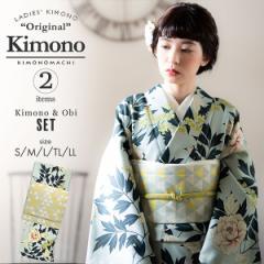 洗える着物 セット「袷着物:牡丹に唐草 水色+京袋帯:うろこ」KIMONOMACHI オリジナル 着物と帯の2点セット サイズS/M/L/TL/LL コーデ