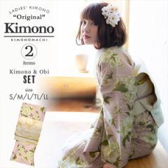 洗える着物 セット「袷着物:桜 ピンク+京袋帯:日向の白猫」KIMONOMACHI オリジナル 着物と帯の2点セット サイズS/M/L/TL/LL コーディ