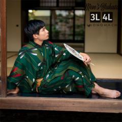 浴衣 メンズ 男性 夏着物 ポリエステル 「縞にトンボ 緑」 大きなサイズ 3L/4L 男浴衣単品 ポリエステル浴衣 男性用浴衣単品 紳士浴衣 ゆ
