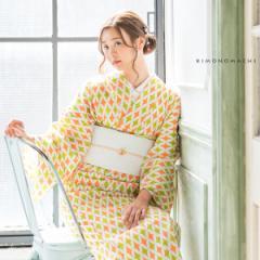 洗える着物 夏着物「グリーン×オレンジ 七宝」レディース S、L(フリー)、TL、LL 洗える夏着物 縦紗風 薄物
