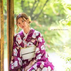 洗える着物 夏着物「深紫色 椿」レディース S、L(フリー)、TL、LL 洗える夏着物 縦紗風 薄物