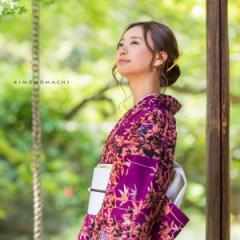 洗える着物 夏着物「深紫色 竹林」レディース S、L(フリー)、TL、LL 洗える夏着物 縦紗風 薄物