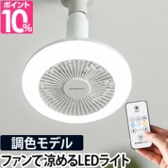 LEDライト LED マイクロタオルor温湿時計モルトのおまけ特典 シーリングファン 調色 ファン付き 小型 扇風機 サーキュライト 調色モデル