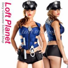 ポリスウーマン ブルーのベストとショートパンツの警官4点セット ハロウィンのコスプレ衣装 SL-V88869