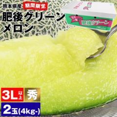 【6月上旬まで】肥後グリーンメロン 秀品 2玉 3L以上 4kg〜 熊本県産 青肉 送料無料《※同梱不可/指定日不可 常温便》 のし対応 贈答用