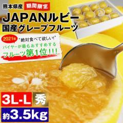 今旬【6月上旬頃まで】JAPANルビー 超希少 国産グレープフルーツ 約3.5kg 3L-Lサイズ 8〜12玉 秀等級 熊本県産 柑橘 送料無料《※同梱不