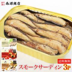 食べ比べ 燻製 スモークサーディン 3種 100g×3缶 お試しセット オイルサーディン トマトソース オニオン 《メール便限定送料無料/代引き