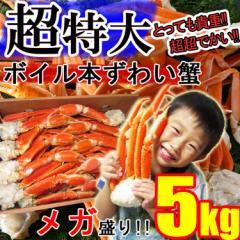 【メガ盛り】ずわい蟹5kg 超特大 身入り抜群♪3〜6Lサイズ ボイル済み 送料無料 父の日ギフト 《※冷凍便》