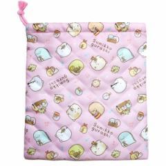 すみっコぐらし すみっコ部テーマ キルト巾着 ピンク CKL1-SG-PK