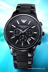 エンポリオアルマーニ 腕時計 メンズ EMPORIO ARMANI セラミカ クロノグラフ オールブラック AR1451