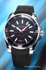 GUCCI グッチ メンズ腕時計 ダイヴ ブラック/ブラックラバー YA136303