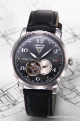 ユンカース 腕時計 フラットライン オートマチック グレー/ブラックレザー 6360-2AT