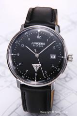 ユンカース 腕時計 バウハウス デイト ブラック/ブラックレザー 6046-2QZ