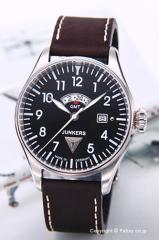 ユンカース 腕時計 コッコピットJU52 GMT ブラック/ダークブラウンレザー 6140-2QZ