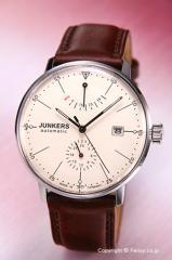 ユンカース 腕時計 バウハウス オートマチック パワーリザーブ ベージュ/ブラウンレザー 6060-5AT