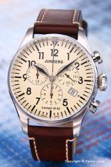 ユンカース 腕時計 コックピット JU52 クロノグラフ ベージュ/ブラウンレザー 6180-5QZ