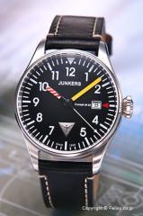 ユンカース 腕時計 コックピット JU52 ブラック/ブラックレザー 6144-3QZ