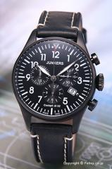 ユンカース 腕時計 コックピット JU52 クロノグラフ オールブラック/ブラックレザー 6182-2QZ
