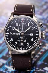 ユンカース 腕時計 コックピット JU52 クロノグラフ ブラック/ダークブラウンレザー 6178-2QZ