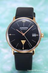 ユンカース レディース腕時計 バウハウス レディ ブラック×ローズゴールド(5ポイントクリスタル)/ブラックサテン 6075-2QZ