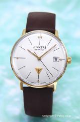 ユンカース レディース腕時計 バウハウス レディ シルバー×ゴールド(5ポイントクリスタル)/ダークブラウンレザー 6075-4QZ