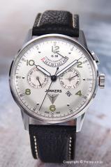 ユンカース メンズ腕時計 ユンカースG38 オートマチック パワーリザーブ シルバー/ブラックレザー 6960-4AT