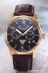 ユンカース メンズ腕時計 ユンカースG38 オートマチック パワーリザーブ ブラック/ダークブラウンレザー 6964-5AT