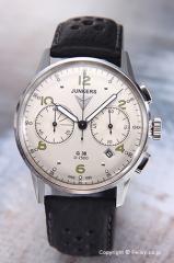 ユンカース メンズ腕時計 ユンカースG38 クロノグラフ シルバー/ブラックレザー 6984-4QZ