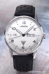 ユンカース メンズ腕時計 ユンカースG38 デイデト シルバー/ブラックレザー 6944-1QZ