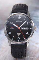 ユンカース メンズ腕時計 ユンカースG38 デイデト ブラック/ブラックレザー 6944-2QZ