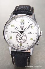 ユンカース メンズ腕時計 ユンカースG38 ビックデイト デュアルタイム シルバー/ブラックレザー 6940-4QZ