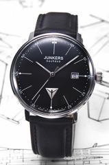 ユンカース メンズ腕時計 6070-2QZ-NEW Bauhaus Date (バウハウス デイト) ブラック