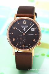 ユンカース JUNKERS 腕時計 レディース Eisvogel F13 Lady ブラック×ローズゴールド/ブラウンサテン 6733-2QZ