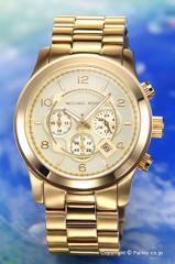 マイケルコース メンズ腕時計 ラージ ランウェイ クロノグラフ オールゴールド MK8077
