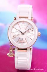 ヴィヴィアンウエストウッド 腕時計 ケンジントン セラミック ホワイト×ローズゴールド レディース VV067RSWH