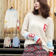 ナンバーデザインセーター ニット セーター 長袖 アシンメトリー ワンポイント 全3色 tpm1801-0721