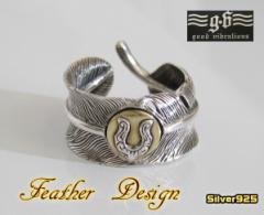 good vibrations(GV)ホースシューフェザーリング19号フリーサイズ 羽根 メイン 指輪 リング 人気
