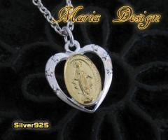 マリアとハートのペンダント(2)SV+G 銀 メイン