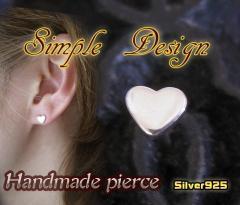 シンプルなハートのピアス(1) 銀製 メイン