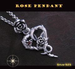 バラのハートペンダント(1)赤 メイン 銀ネックレス薔薇