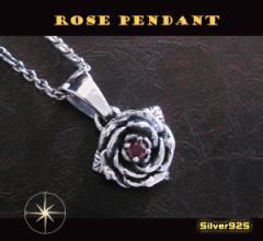 バラのペンダント(6)赤 メイン 銀ネックレス薔薇