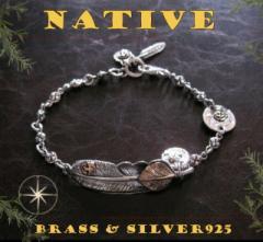 ネイティブフェザーチェーンブレスレット(1)SV+銅 メイン 製ブレスレット銀 羽根