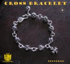 クロスボールブレスレット(2)クロスチャーム付/(メイン)シルバー925製ブレスレット銀・十字架クロス送料無料