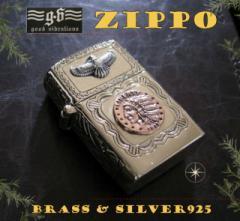 good vibrations(GV)ZIPPOライター インディアンコイン(1)SV+B  メイン 金色 真鍮製(ブラス製) シルバー925製銀 GOOD VIBR送料無料