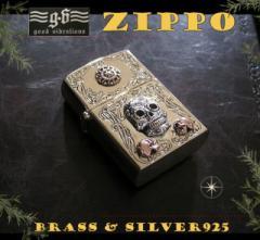 good vibrations(GV)ZIPPOライター メキシカンスカルと太陽  メイン 金色 真鍮製(ブラス製) シルバー925製銀 ドクロ スカルG送料無料