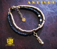 ブレスレット アンティーク(1)フェザー メイン 古美加工アンティーク金色天然石羽根フリーサイズ