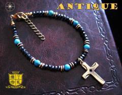 ブレスレット アンティーク(2)クロス メイン 古美加工アンティーク金色天然石十字架フリーサイズ
